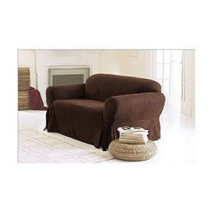 Chezmoi Collection Soft Micro Suede Solid Chocolate Brown Couchsofa Cover Slipcover