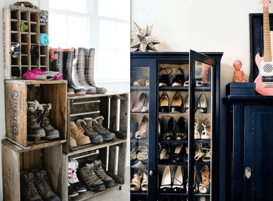Convert The Old Display Unit Into A Shoe Rack