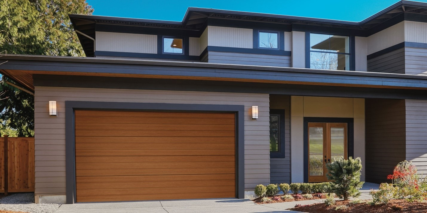 garage door matching color with the rest of the house