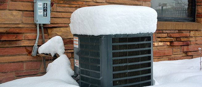 heating system covered in snow