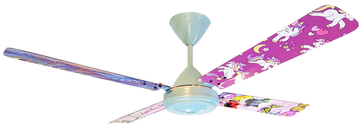 cute ceiling fan for kids room with pink poneys and colorful butterflies and drawings